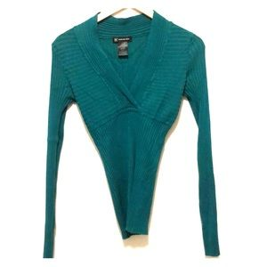INC Fitted Green Ribbed Sweater